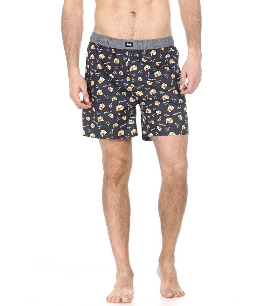 Basics Grey and Yellow Cotton Shorts