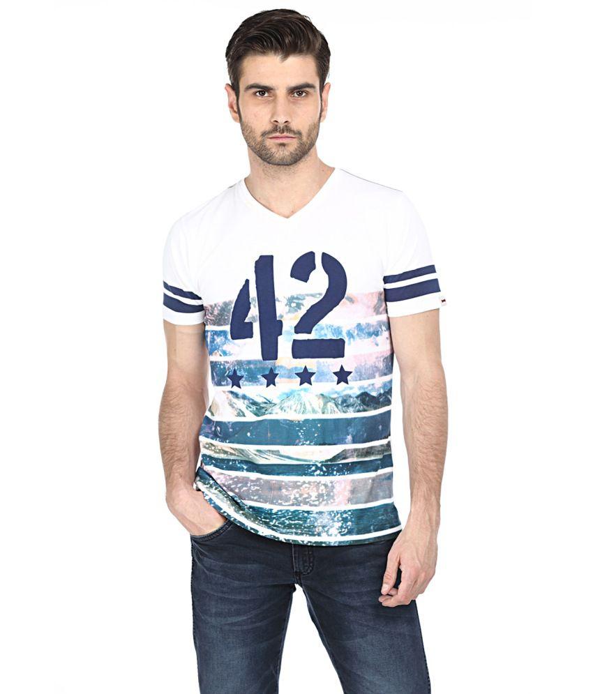 Basics White and Blue Cotton T-shirt
