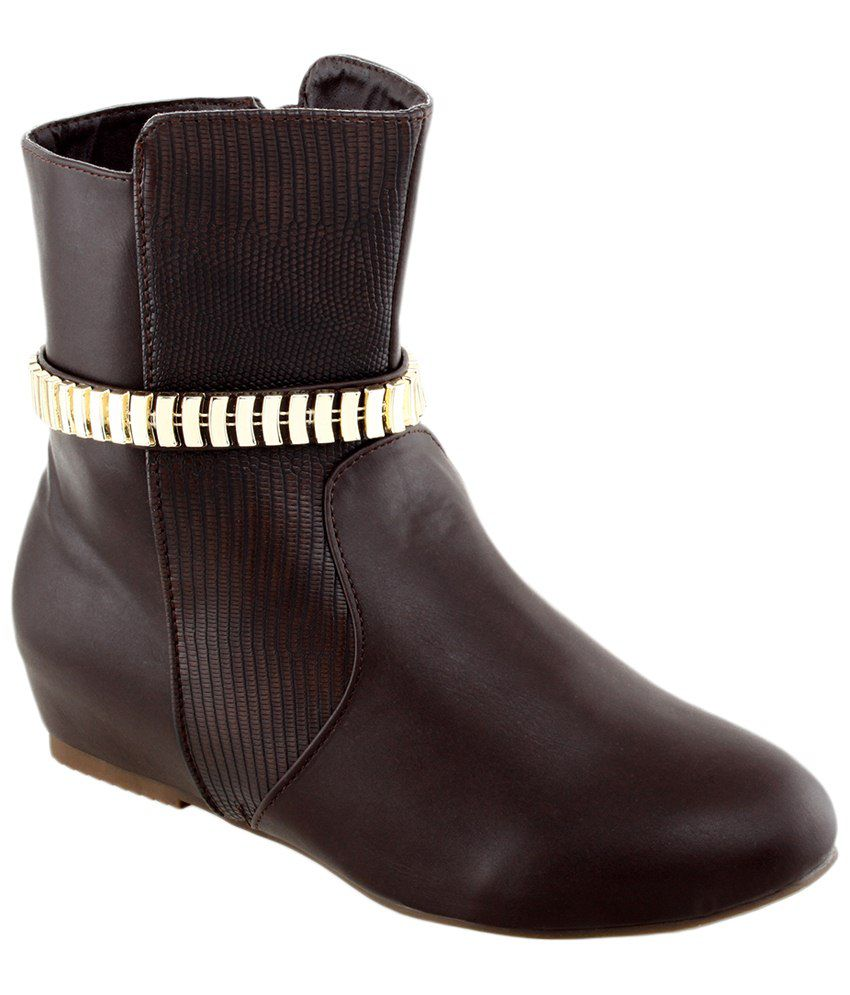 Shuz Touch Brown Ankle Length Boots