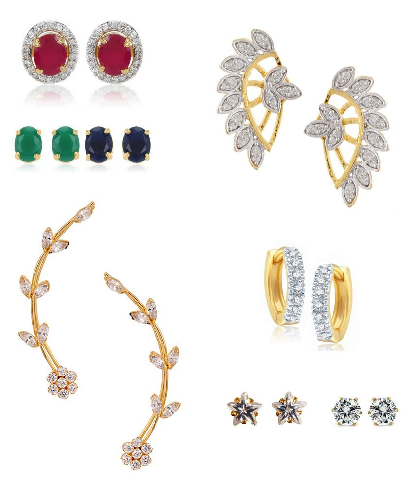 Archi Collection Multicolour Alloy Earrings Combo Of 8