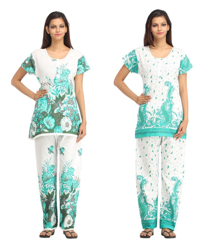 Simrit Multi Color Cotton Nightsuit Sets Pack of 2