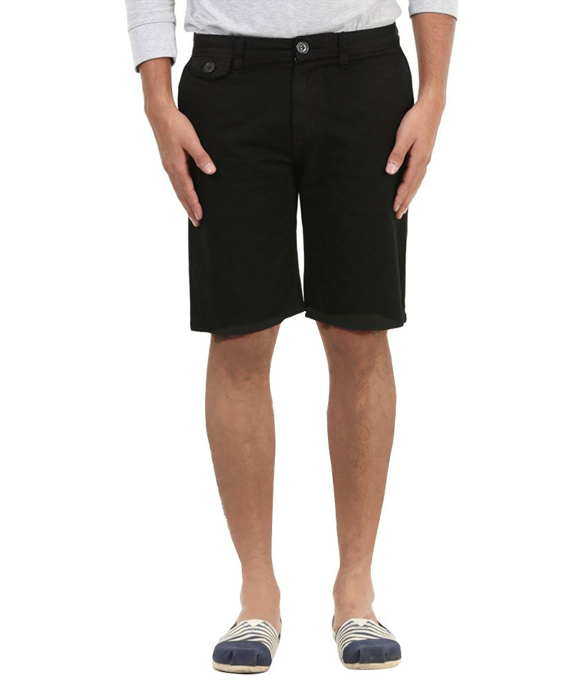 MRDNK Black Cotton Solid Shorts