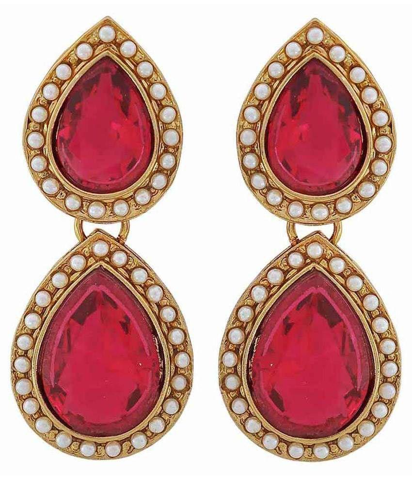 Maayra Antique Pink Copper Drop Earrings