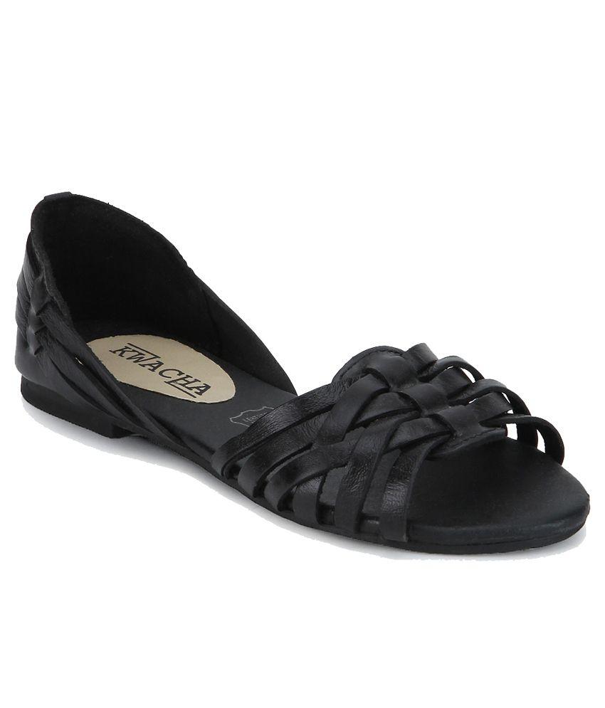 Kwacha Black Flat Slip Ons