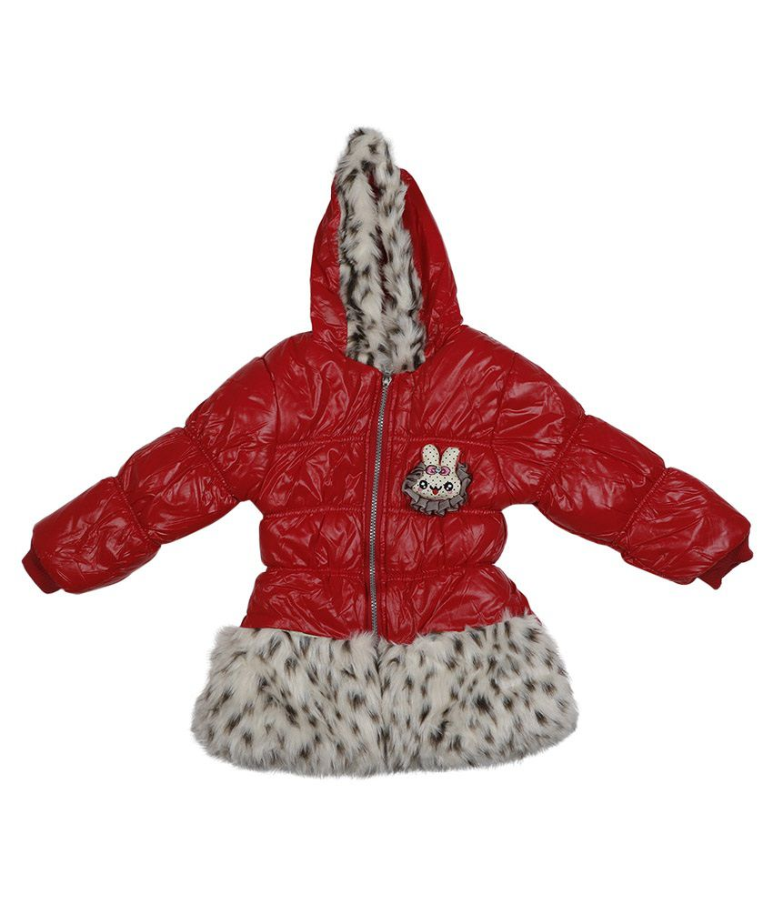 Addyvero Red Faux Satin Full Sleeves Jacket with Hood