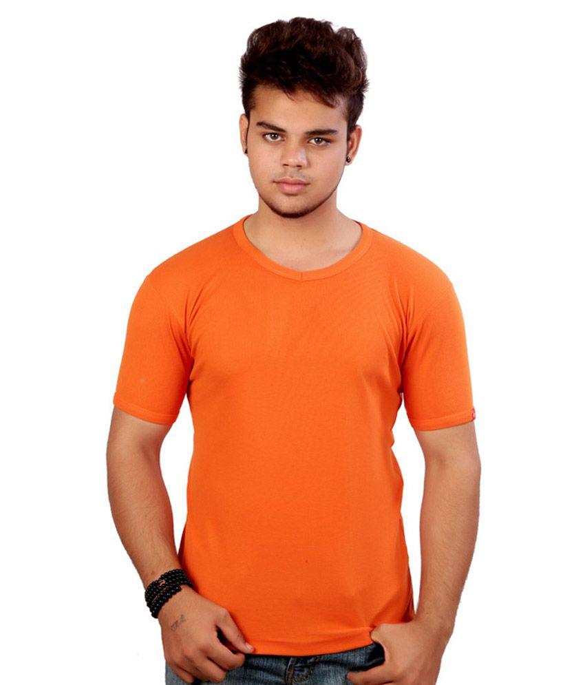 Alangar Silks And Readymades Orange Cotton T-shirt