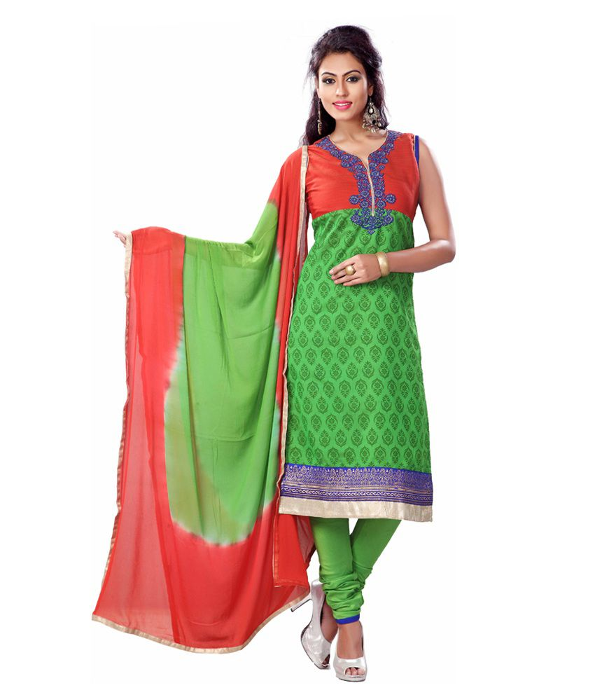 Payal Green Art Silk Stitched Suit