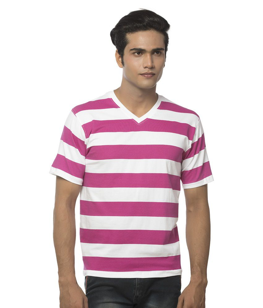 Clifton Pink and White Cotton T-shirt
