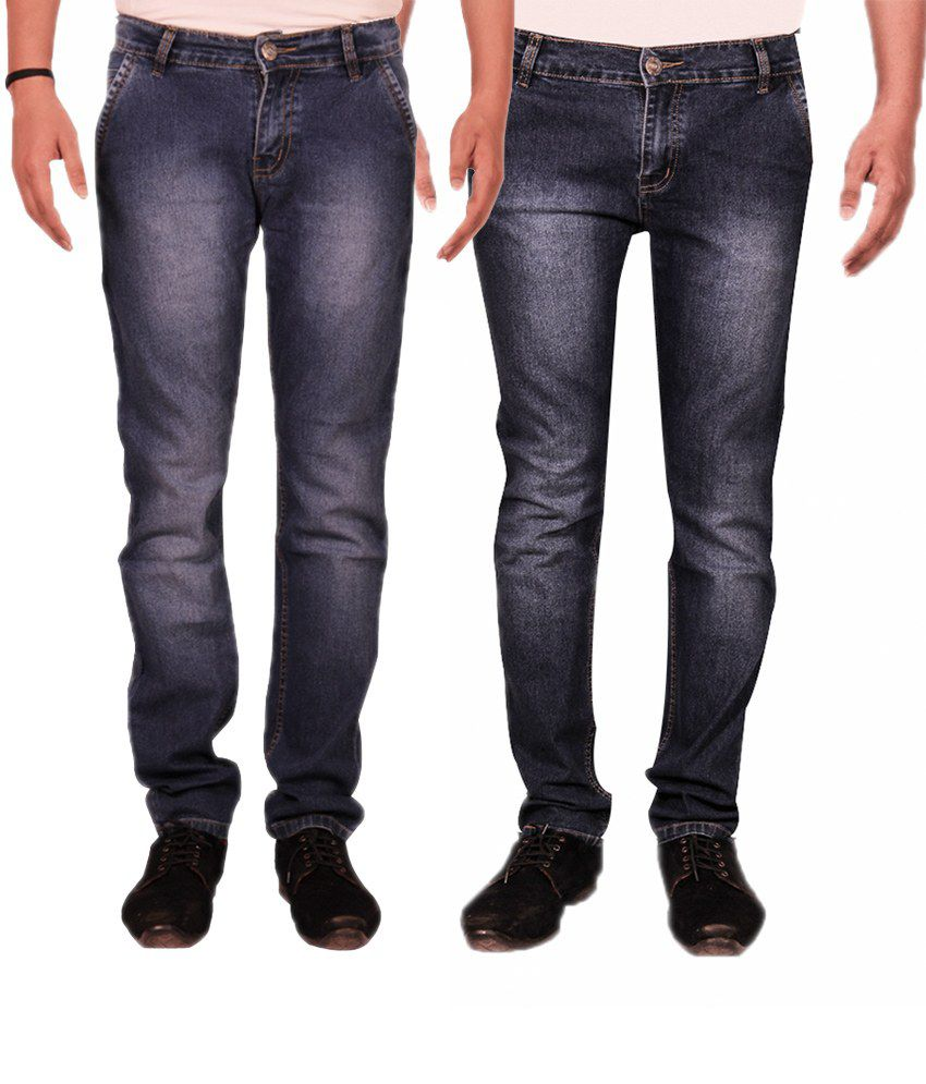 Fuego Monkey Wash Blue Faded Jeans with Cross Pocket - Pack of 2