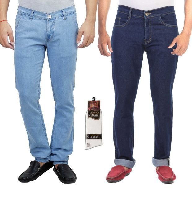 Haltung  Multicolor Cotton Basic Denim Jenas - Combo Of 2
