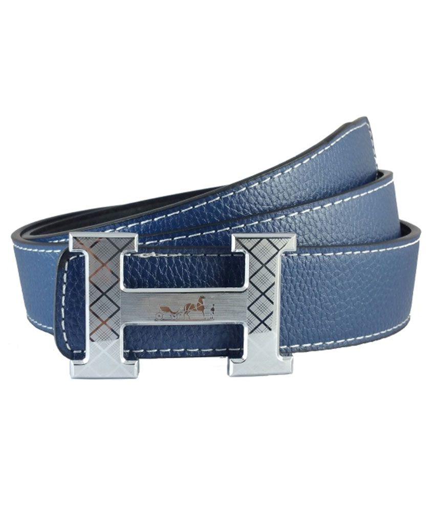 Ammvi Creations Silver H Engraved Buckle Synthetic Leather Blue Belt for Men