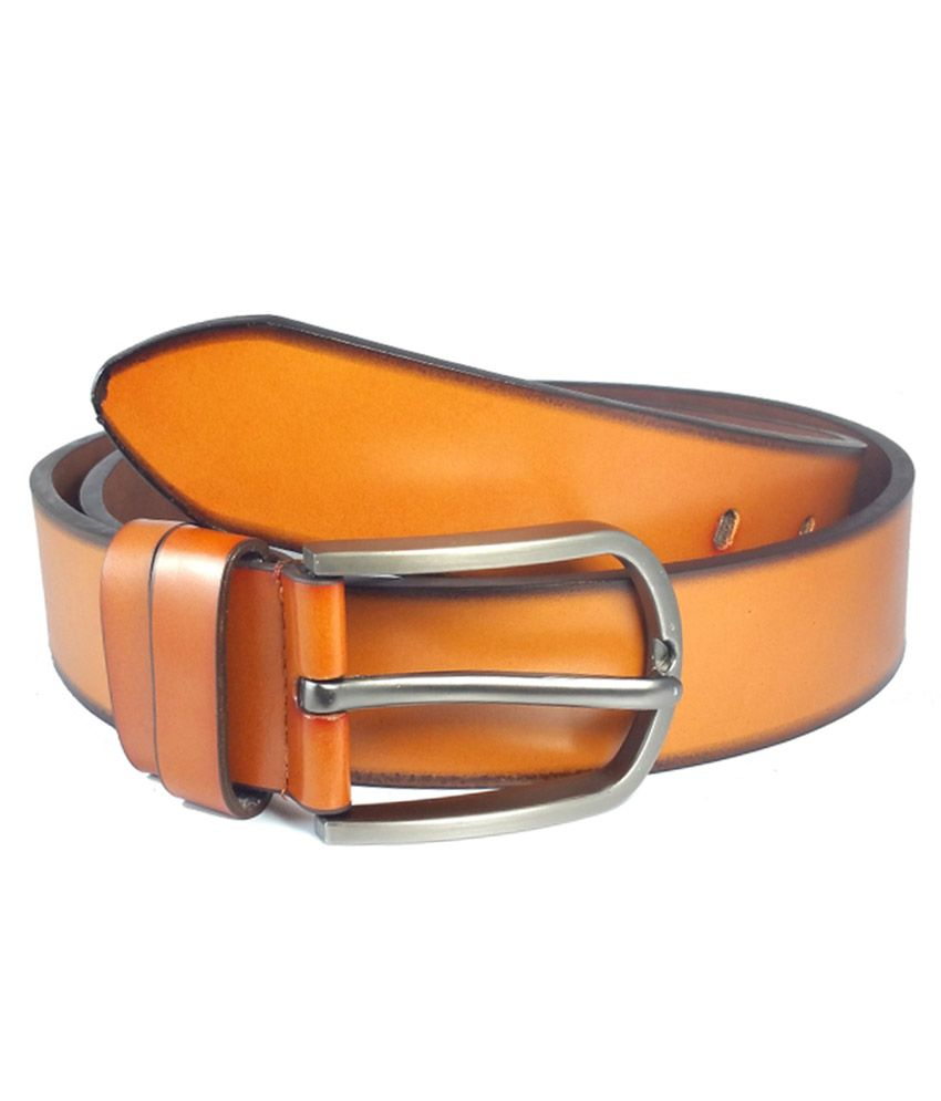 Ammvi Creations Sleek Buckle Terracotta  Brown PU Leather Belt For Men