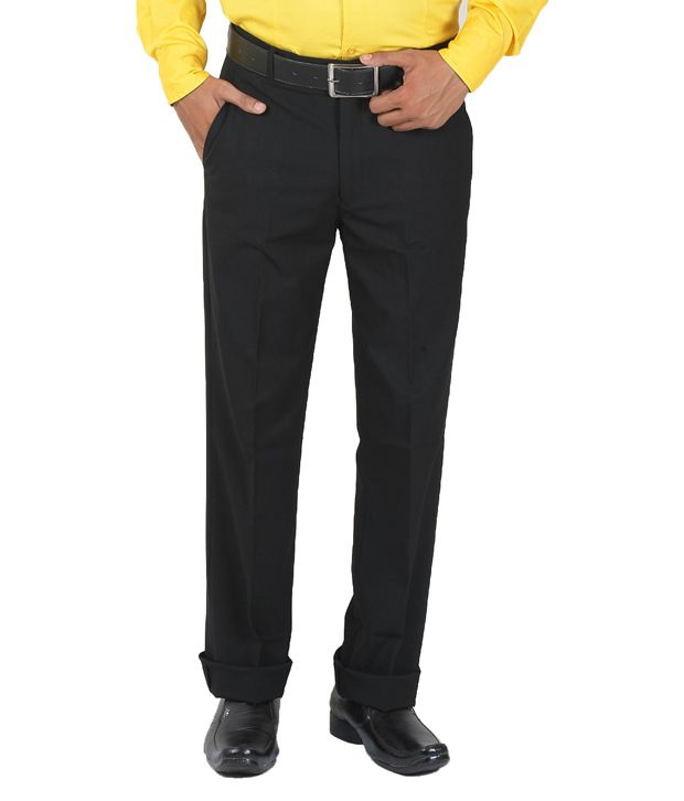 GetAbhi Black Cotton Regular Fit Formal Trouser