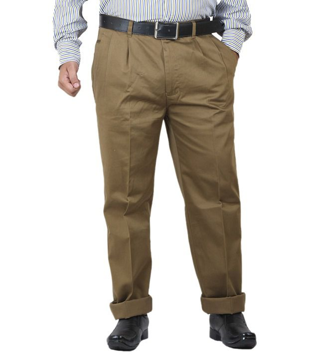 GetAbhi Brown Cotton Regular Fit Formal Trouser