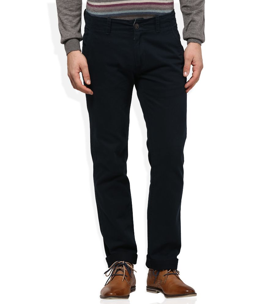 Woodland Navy Regular Fit Trousers