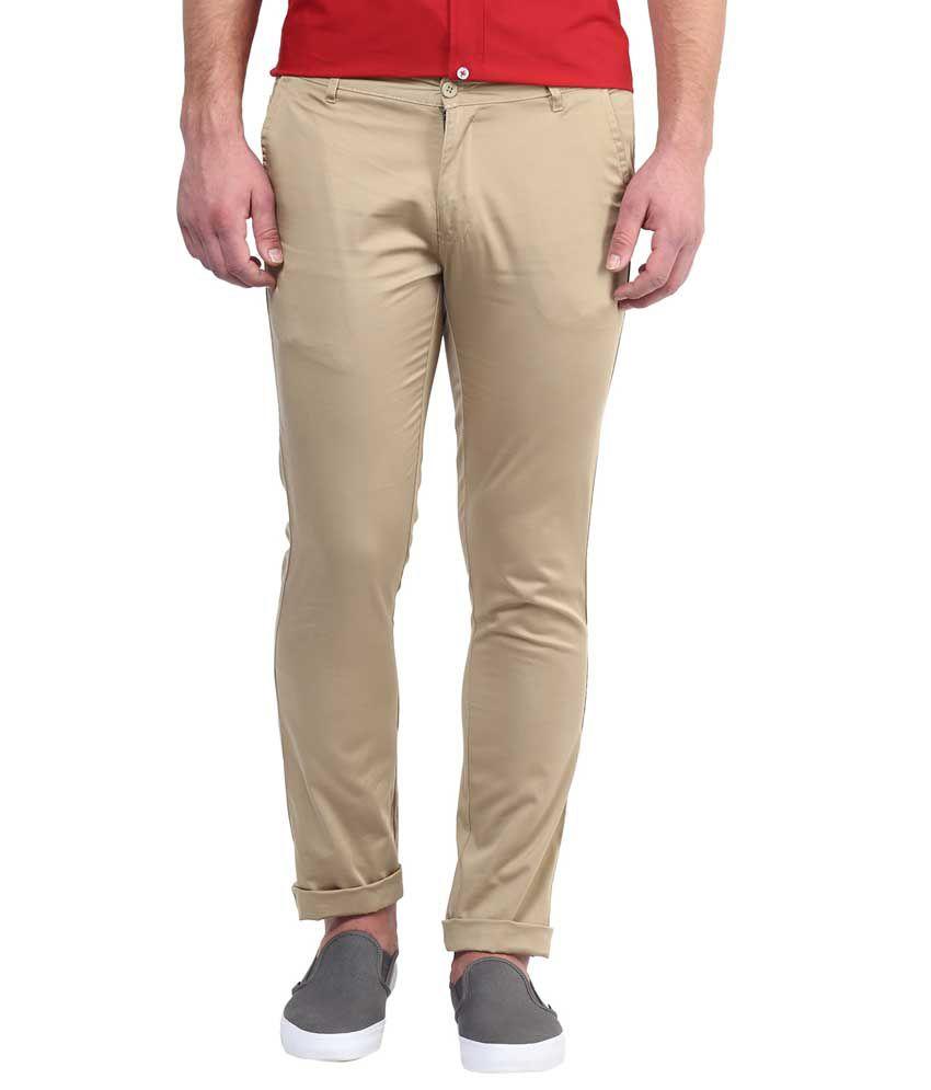 Bukkl Beige Slim Fit Casual Trousers For Men