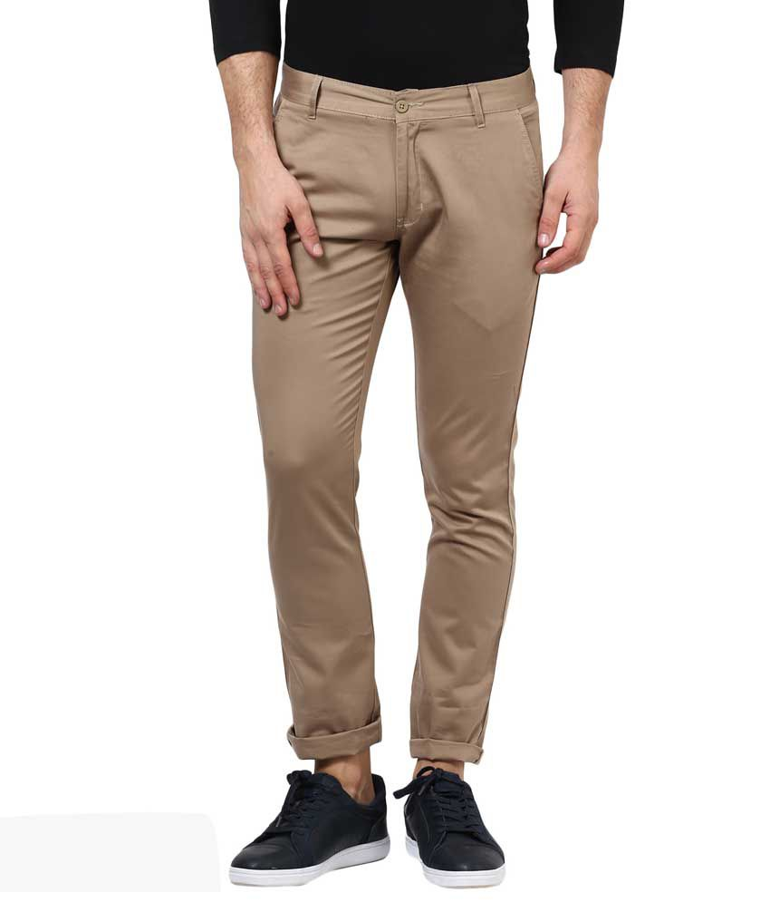 Bukkl Fossil Grey Slim Fit Casual Trouser For Men