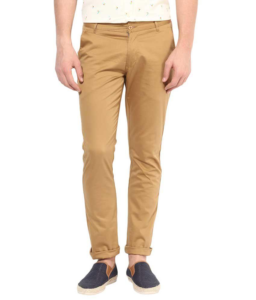 Bukkl Khakhi Slim Fit Casual Trouser For Men