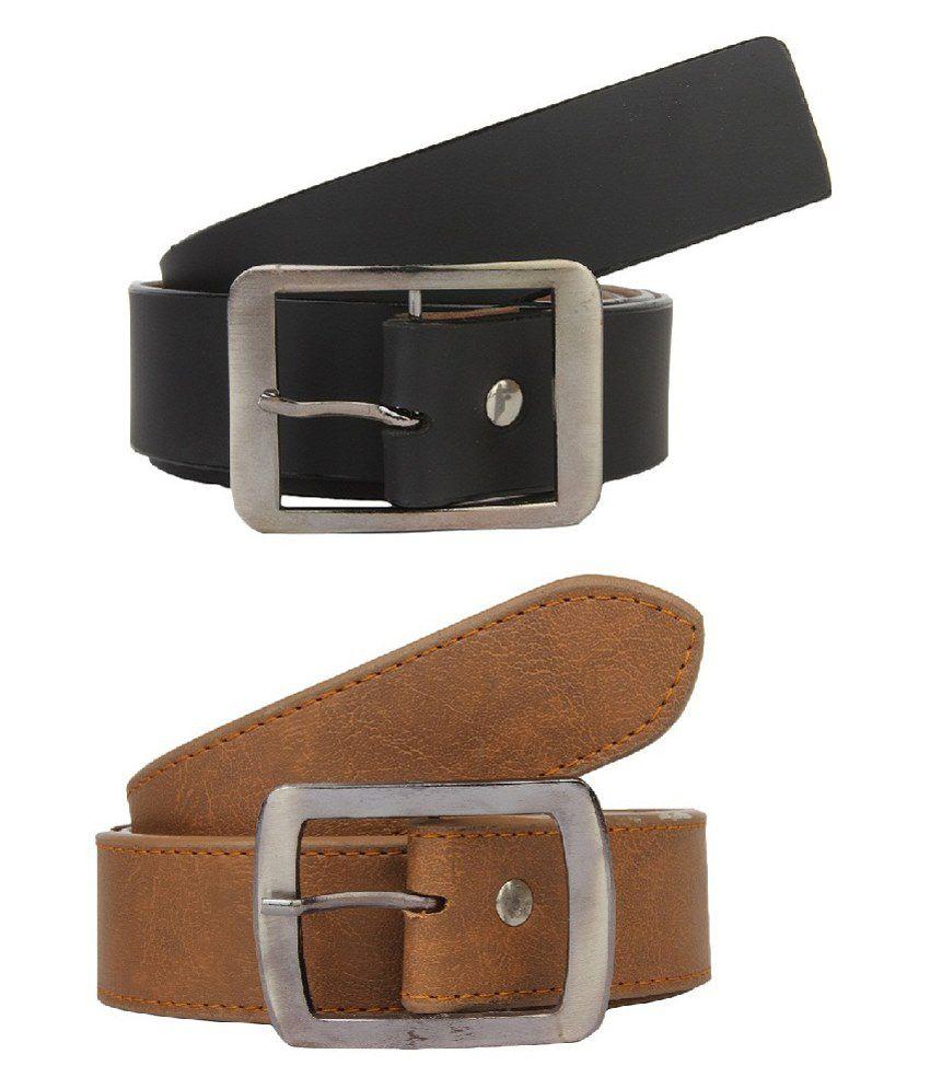 Lime Black Combo Of 2 Belt For Men