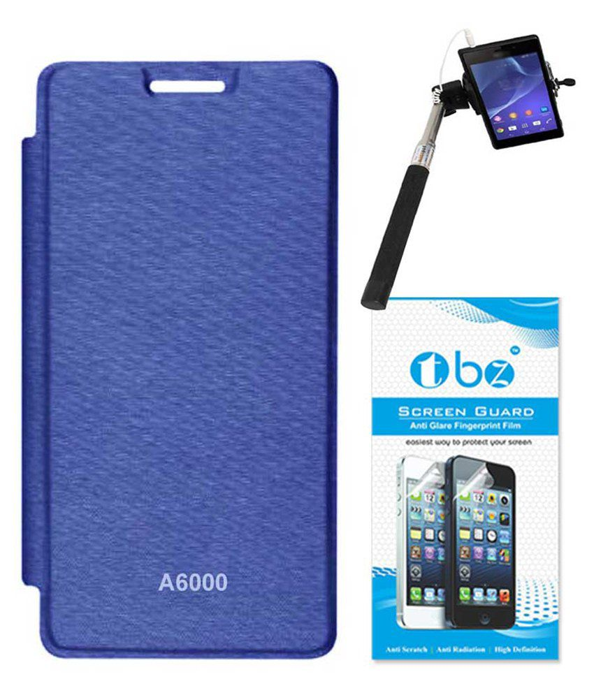 Tbz Flip Cover For Lenovo A6000-blue With Screen Guard & Selfie Stick Monopod With Aux