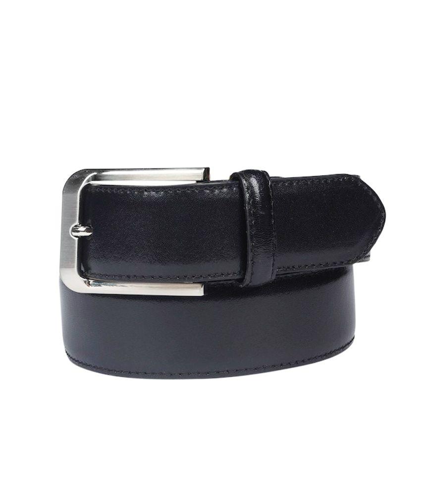 Leather Plus Black Single Formal Belt For Men