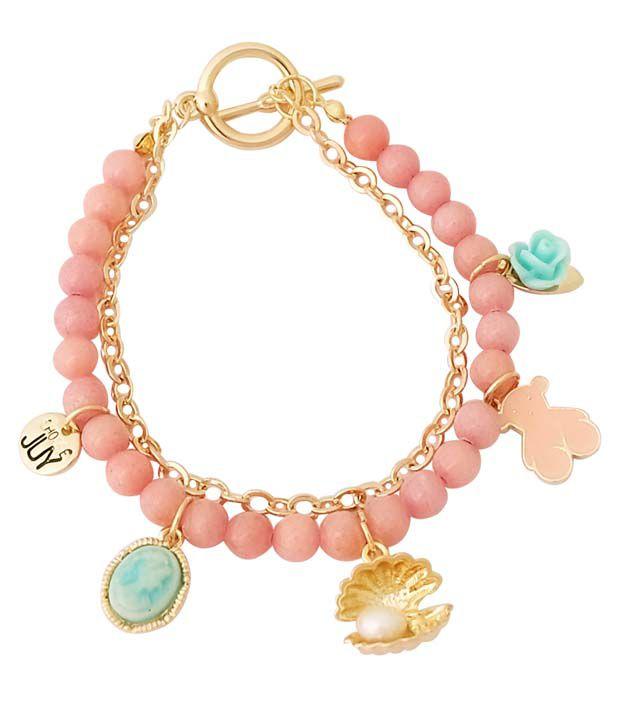 Super Drool Pink Alloy Charm Bracelet