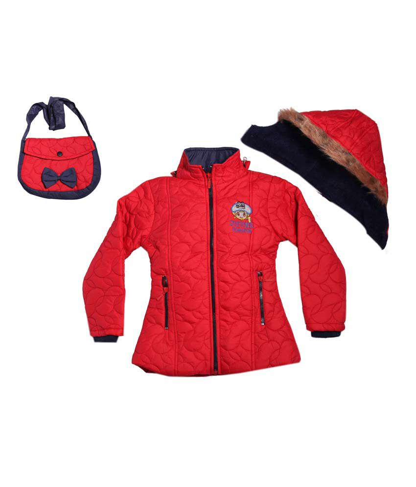Yash Garments Red Padded Jacket For Girls