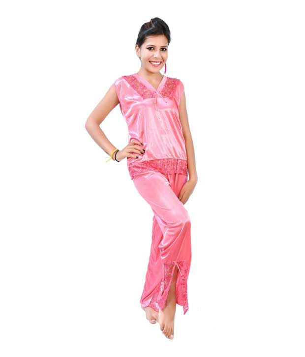 fc78fe62bafe6 ... Fashion Zilla Pink Satin Shoulderless Top Payjama With Short Gown Set  ...