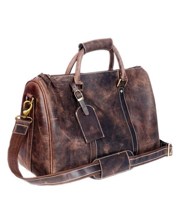 Zakara Grey Medium Leather Gym Bag