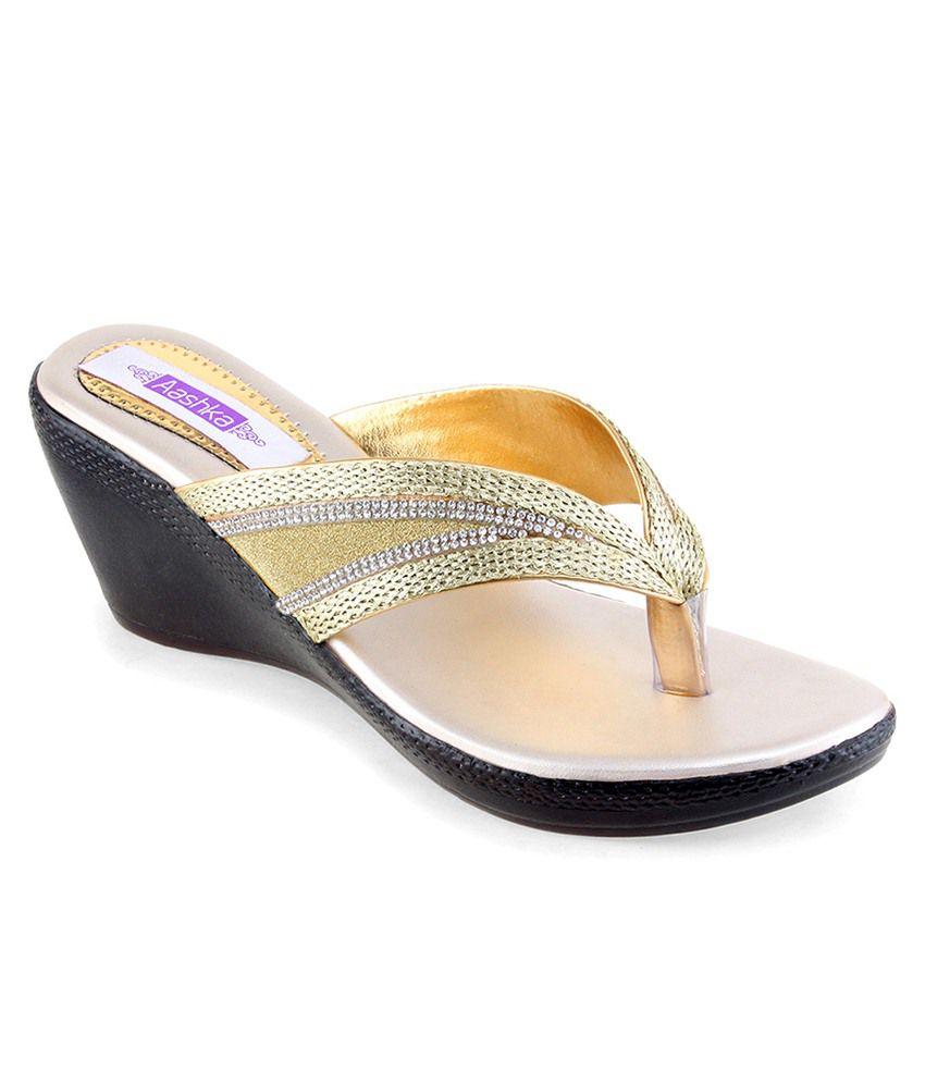 Aashka Golden Heeled Slip Ons
