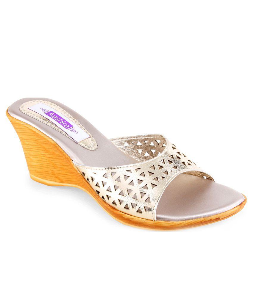 Aashka Silver Wedge Heeled Slip-Ons