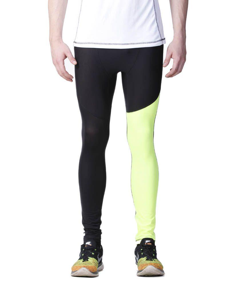 Atheno Black And Green Polyester Sports Gym Legging