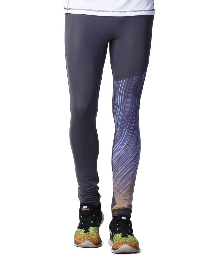 Atheno Gray Polyester Sports Gym Legging