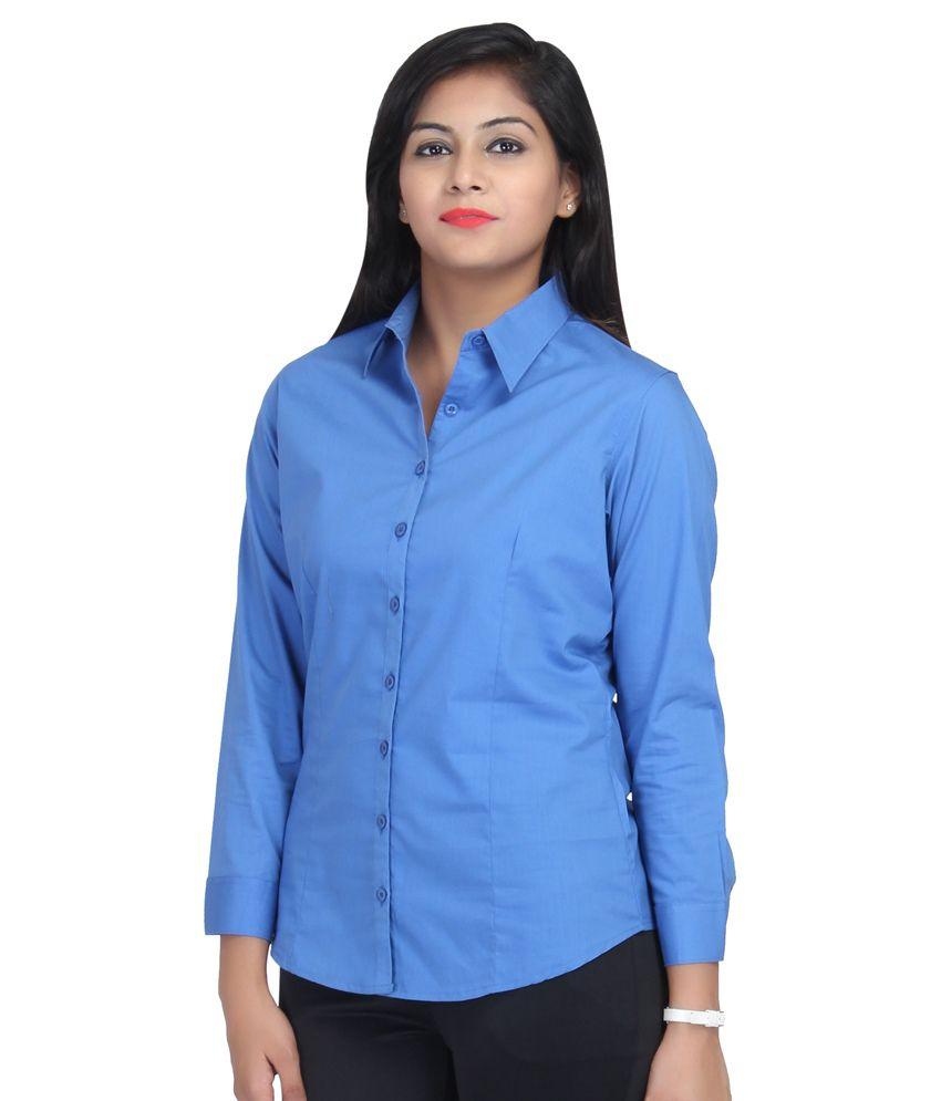 Buy Estella Blue Cotton Shirts Online At Best Prices In