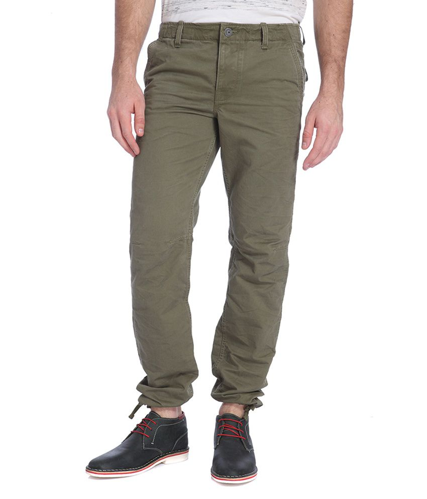 Jack & Jones Green Slim Fit Casual Trousers