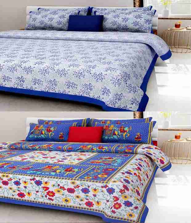Kismat Collection 2 Traditional Look Rajsthani Double Bedsheet With 4 Pillow Covers