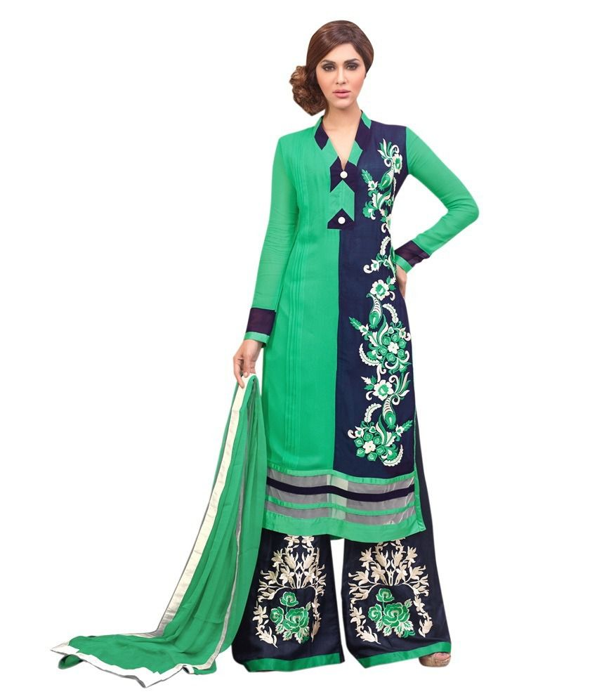 Lookslady Green Faux Georgette Semi Stitched Dress Material