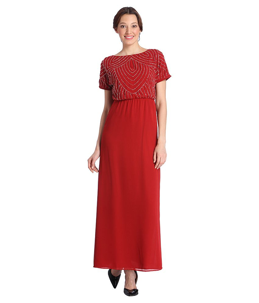 9514a76ec0 Vero Moda Red Embellished Maxi Dress - Buy Vero Moda Red Embellished Maxi  Dress Online at Best Prices in India on Snapdeal