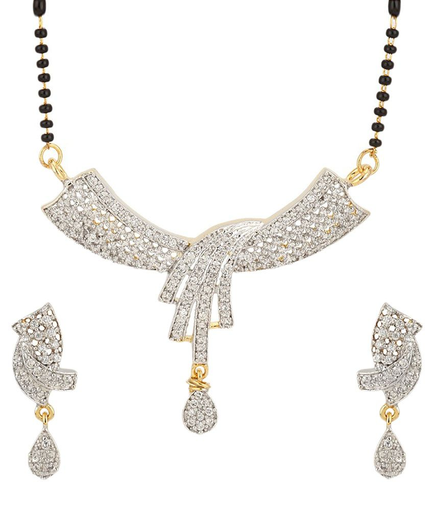 Youbella Just Like Diamonds Silver Daily Wear Mangalsutra Set