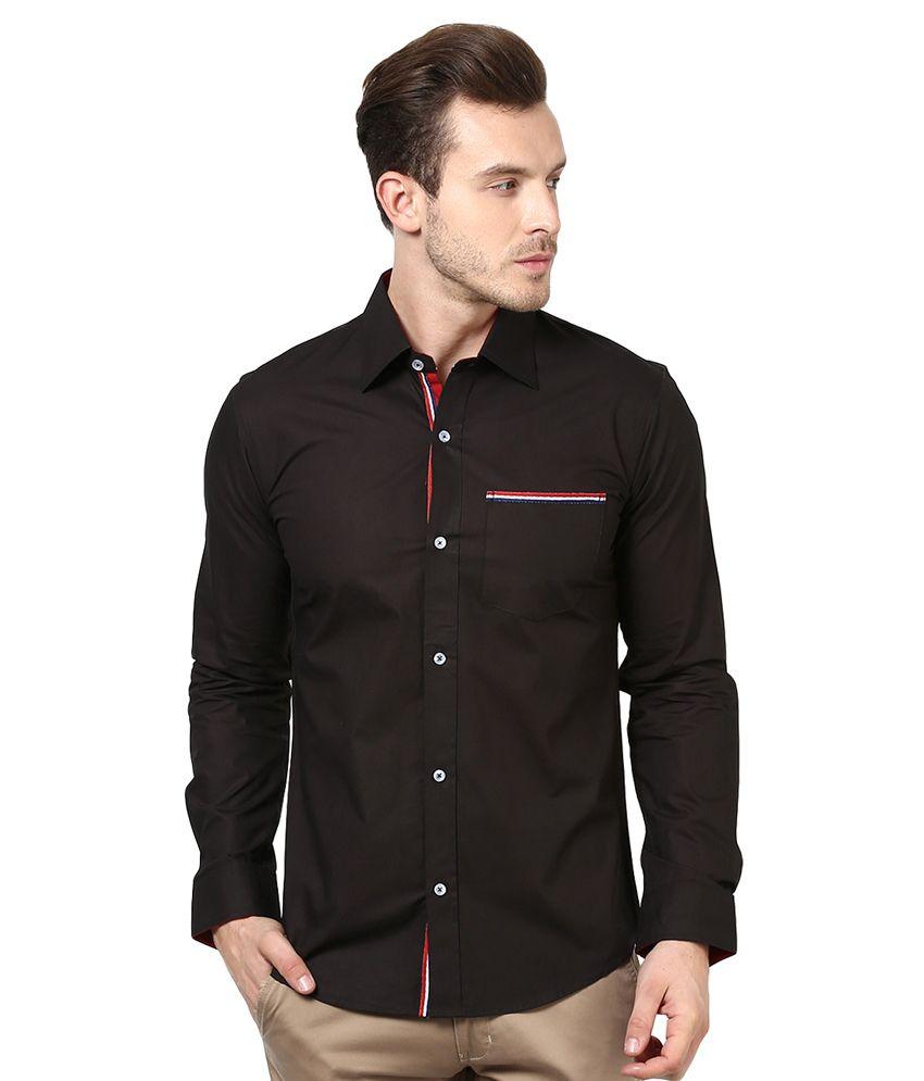 Bukkl Black Cotton Full Sleeves Casual Shirt