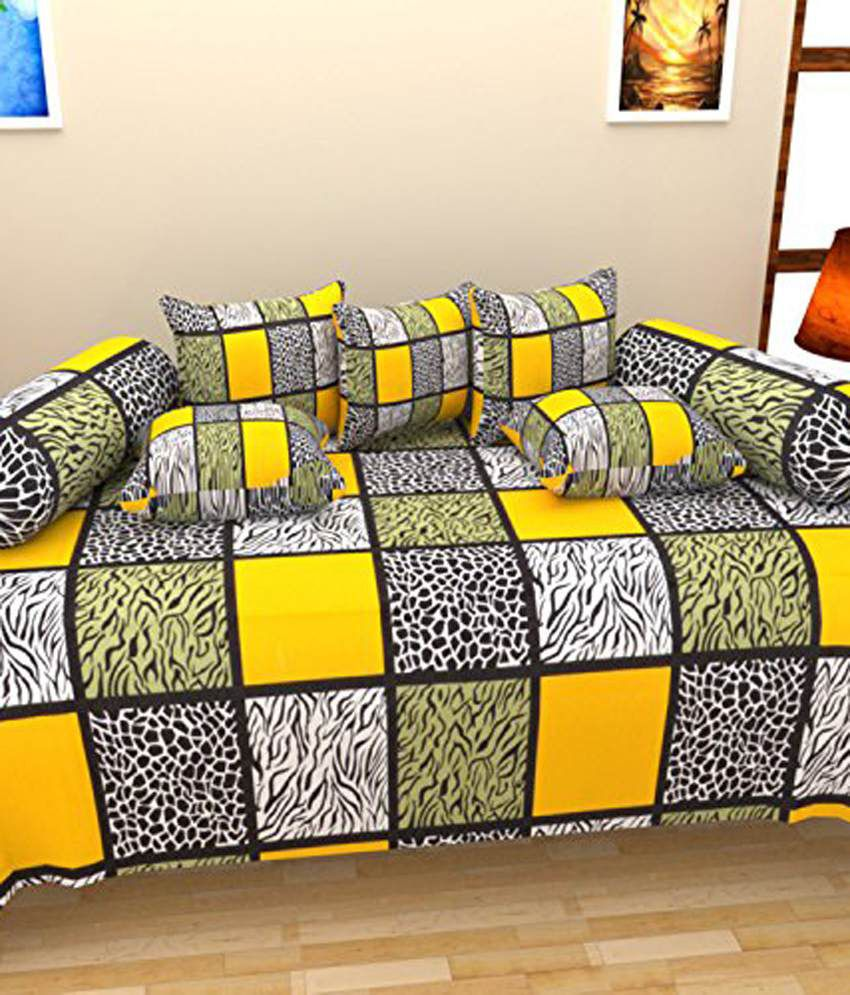 Shiv Kirpa Multicolour Cotton Single Bedsheet with 5 Pillow Cover and 2 Bolster Cover