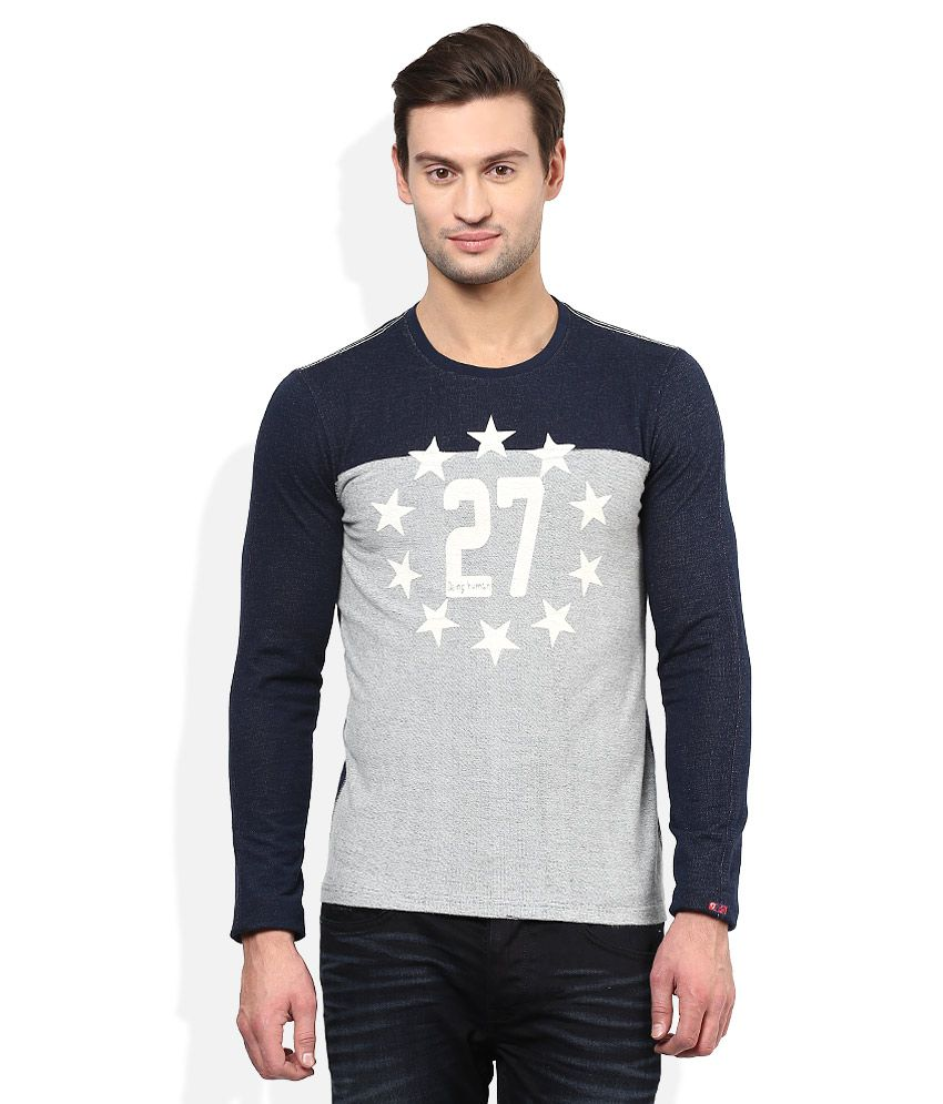 Being Human Navy Round Neck Full Sleeves T-Shirt
