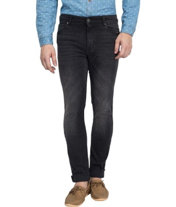 Blue Saint Black Cotton Slim Fit Jeans