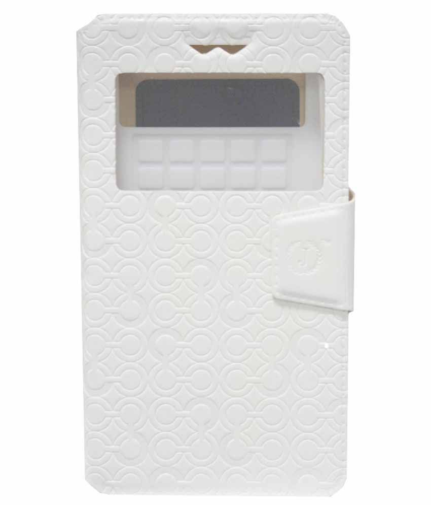 Jo Jo Synthetic Flip Cover Case With Silicon Holder For Samsung Galaxy Avant - White