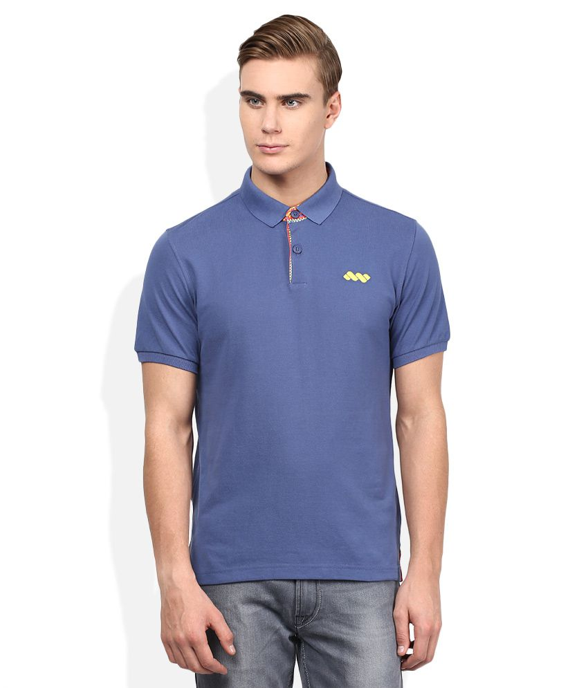 Spunk Navy Half Sleeves Solids Polo T-Shirt