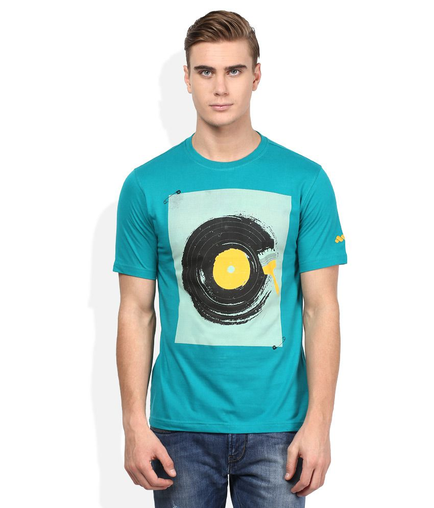 Spunk Turquoise Round Neck Half Sleeves Printed T-Shirt