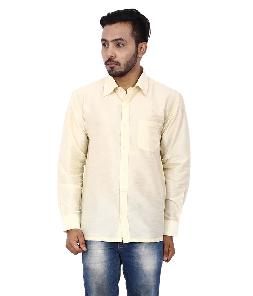 Kenrich Off-White Silk Regular Fit Shirt