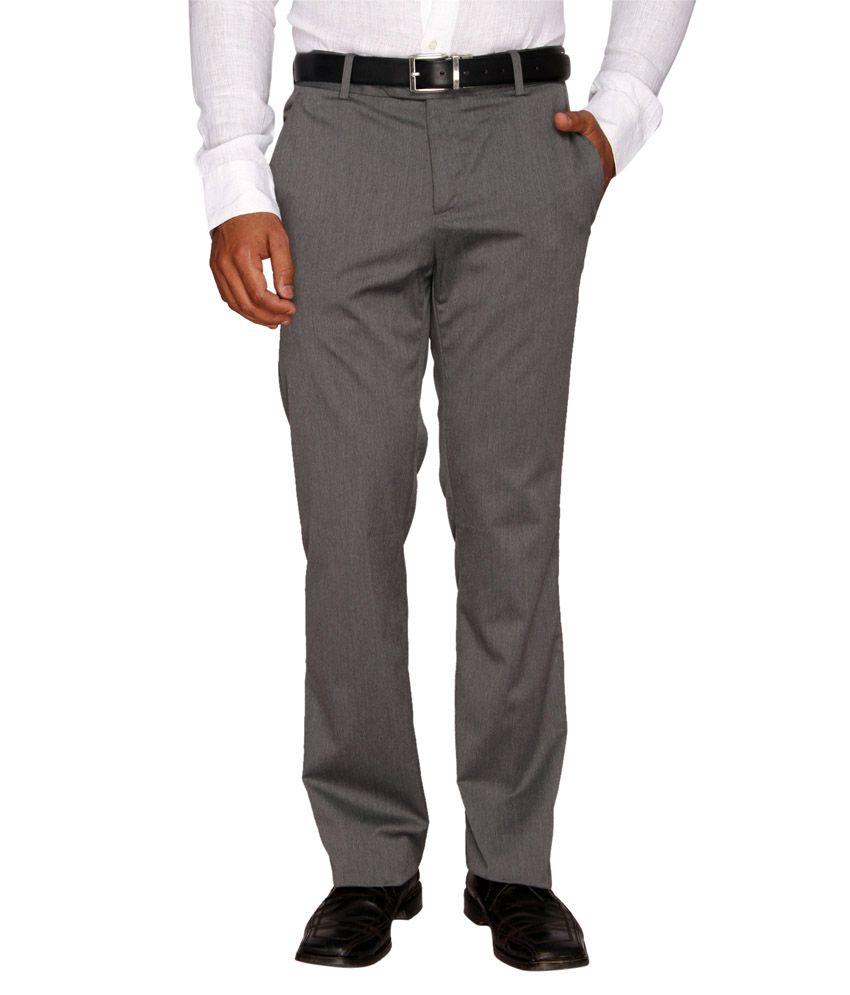 Librazo Grey Slim Fit Formal Flat Trouser