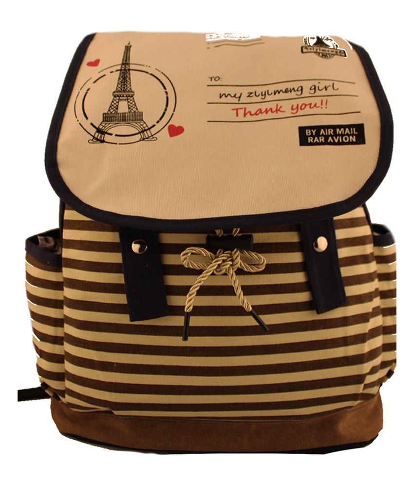 Damit Brown Canvas Cloth Backpack