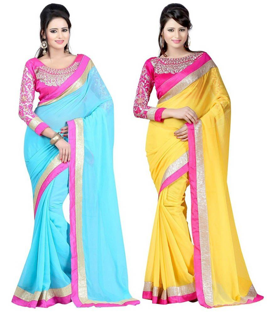 Fashion Designer Sarees Yellow And Blue Faux Georgette Pack Of 2